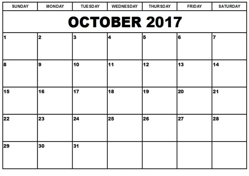 October 2017 Printable Calendar Pdf Download