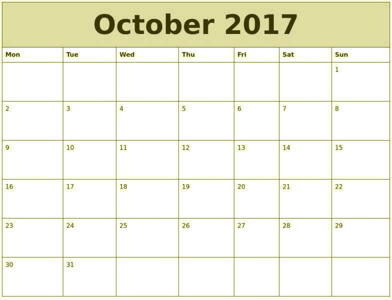 October 2017 Printable Calendar Template Download