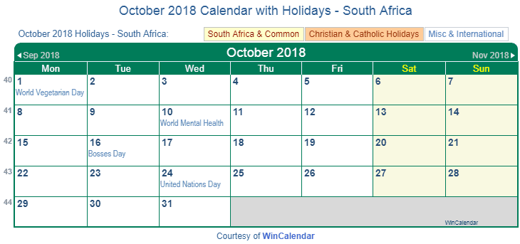 October 2018 Calendar South Africa with Holidays