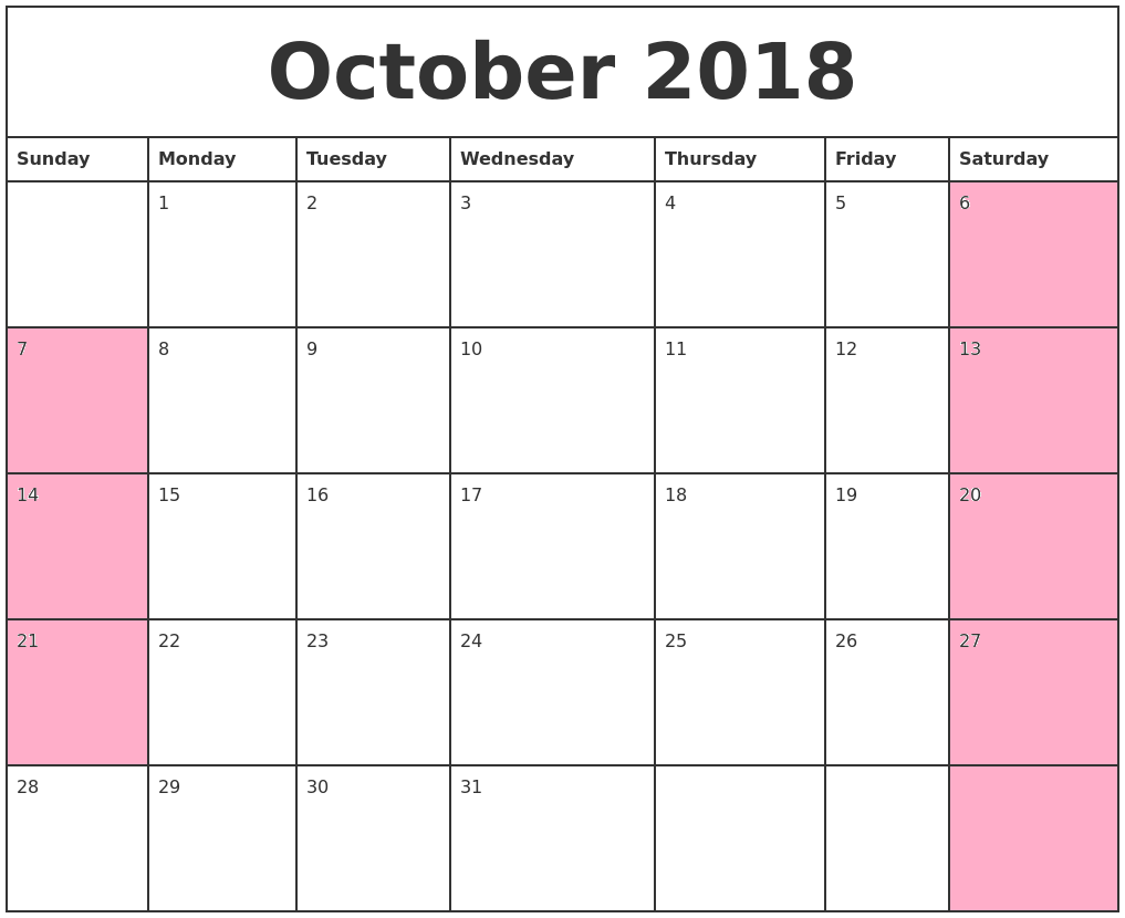 October 2018 Calendar Weekly Planner With Highlight Weekend
