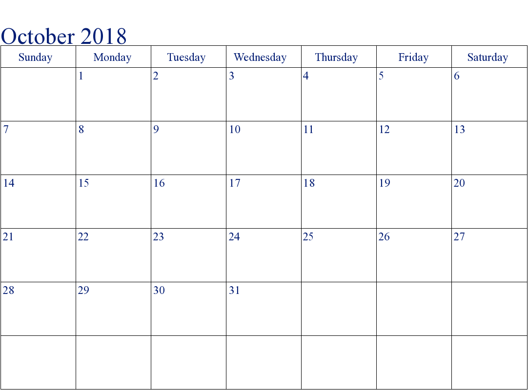 October 2018 Calendar With Holidays Editable Font Size