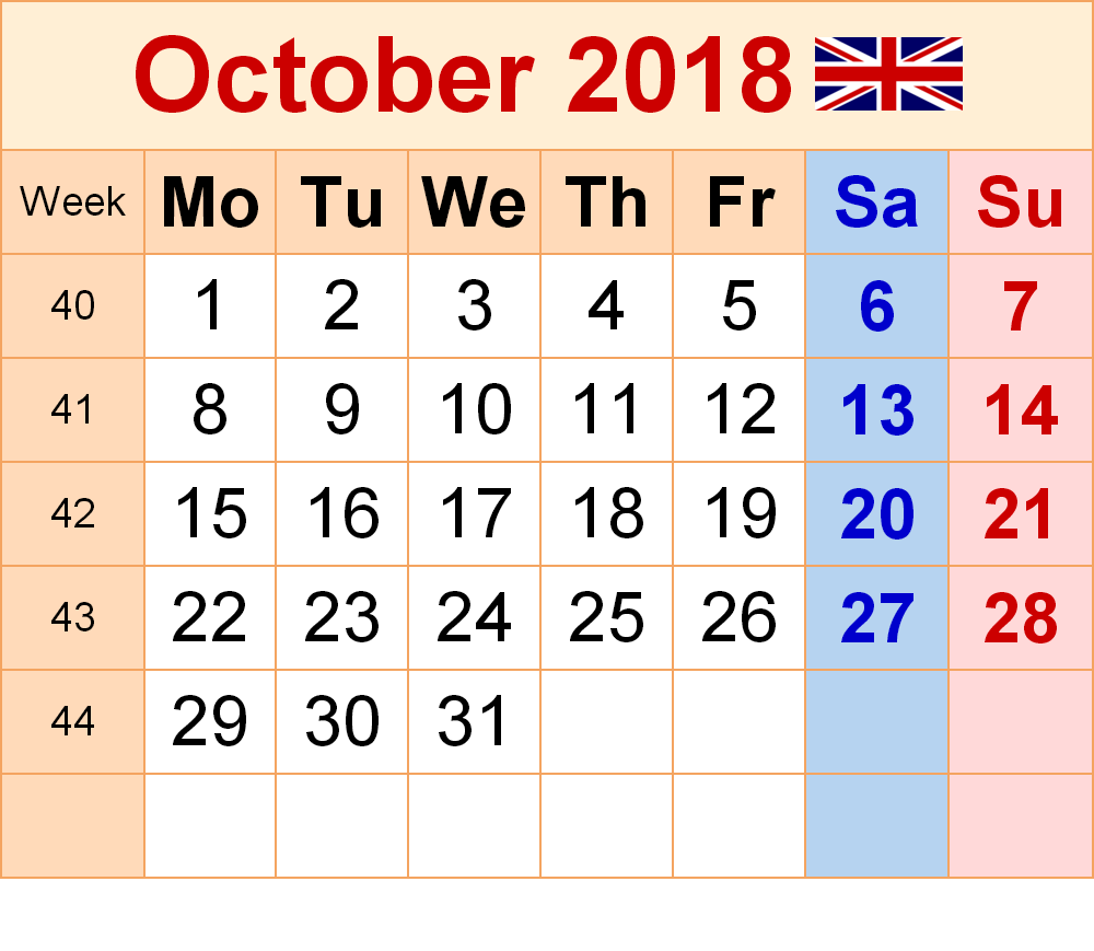 October 2018 Calendar With Holidays Excel PDF Format