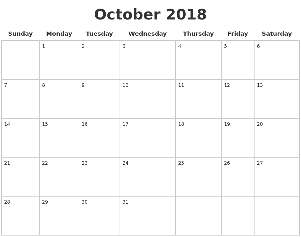 October 2018 Calendar With Holidays Full Weekday