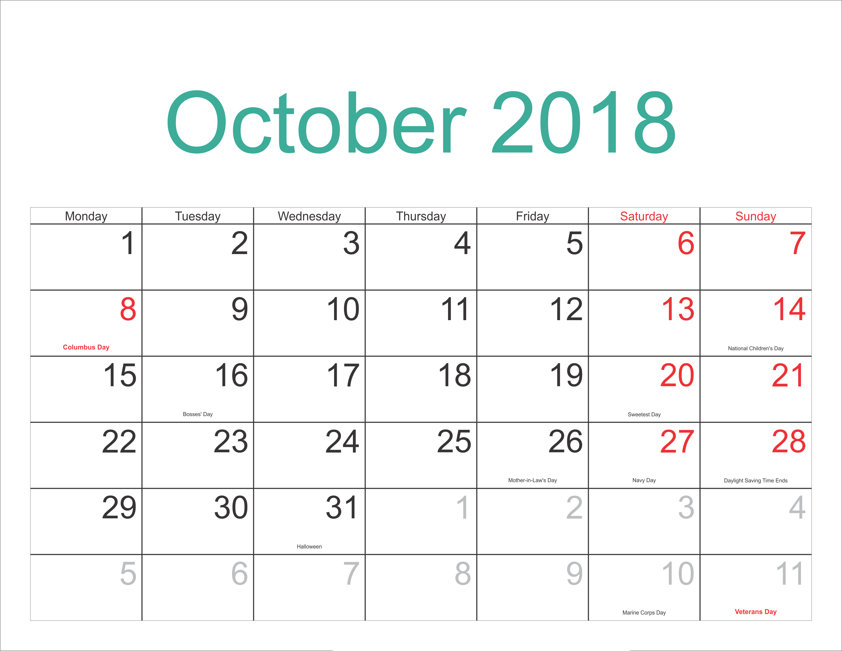 October 2018 Calendar With Holidays Full