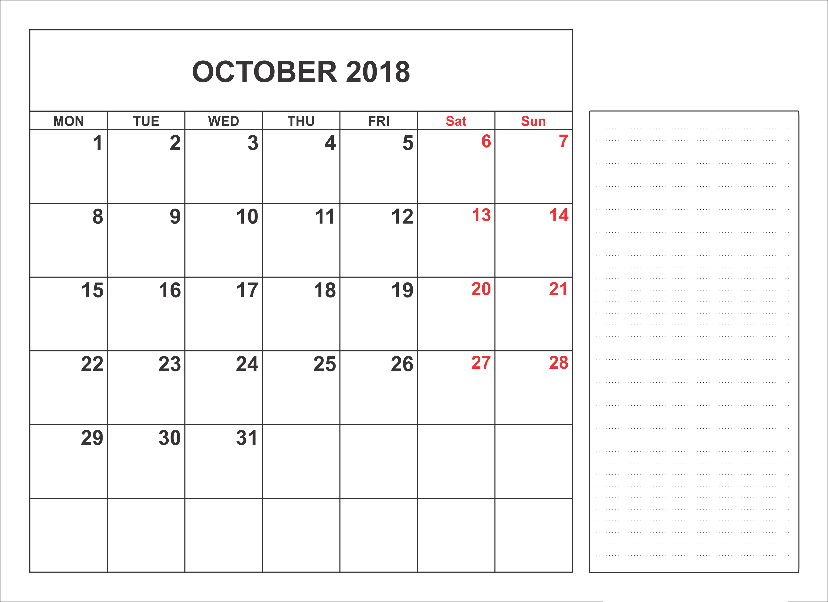 October 2018 Calendar With Holidays Notes Full