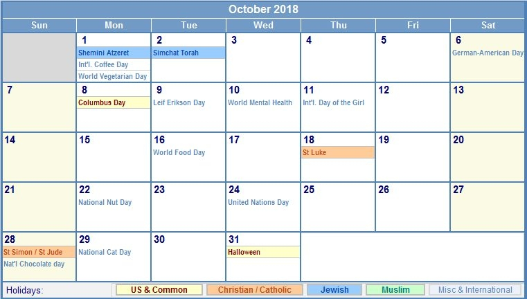 October 2018 Calendar With Holidays Uk | Calendar Monthly Printable within