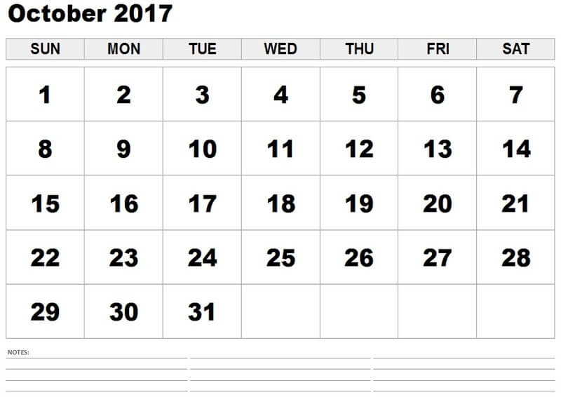 Online October 2017 Printable Calendar Template