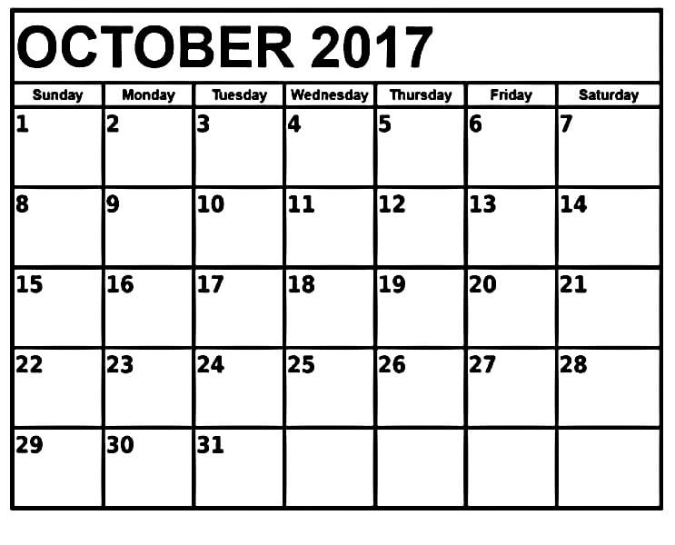 Printable Calendar For October 2017 Template