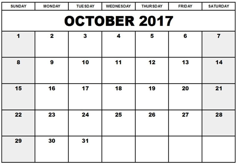 Printable October Calendar 2017 Template