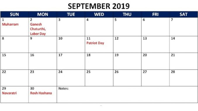 picture about Calendar With Holidays Printable identify Free of charge Sept 2019 Calendar Holiday seasons Printable Blank Templates