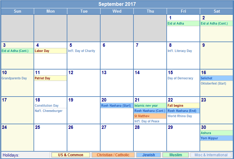 September 2017 Calendar With Holidays india