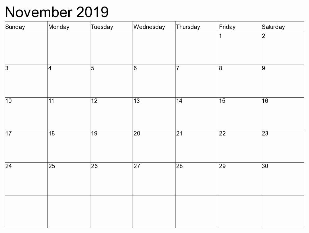 picture relating to Printable November Calendar Pdf named No cost November 2019 Printable Calendar Template PDF Term A person