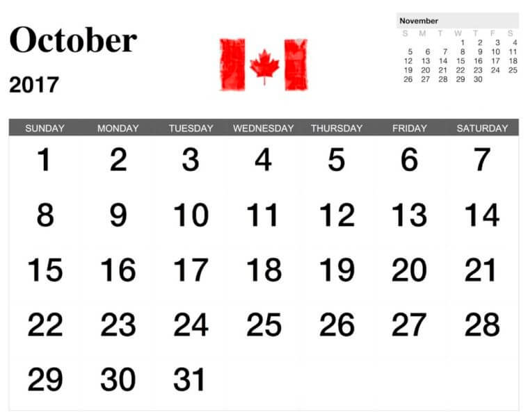 October 2017 Calendar Printable Templates - Calendar …