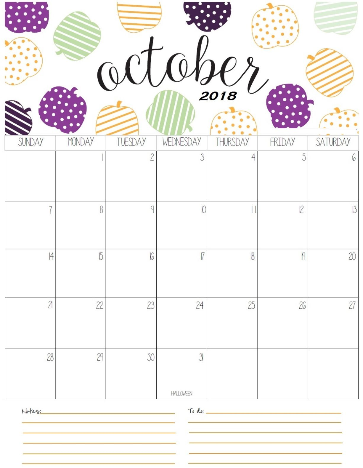 Cute October 2018 Calendar Images