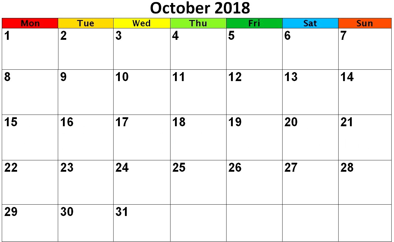 photo about Oct Calendar Printable Pdf known as Oct 2019 Calendar PDF Term Webpage Excel Landscape Portrait