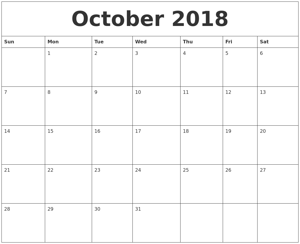 Cute October 2018 Calendar PNG