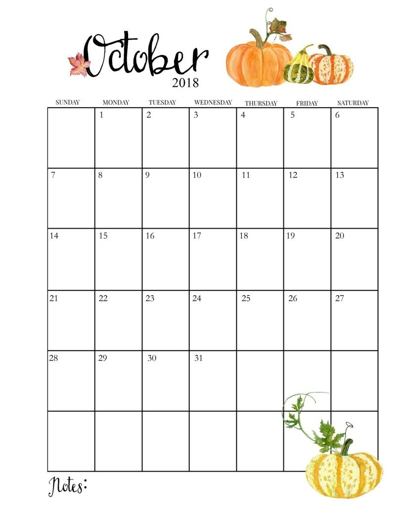 Floral October 2018 Calendar Vertical