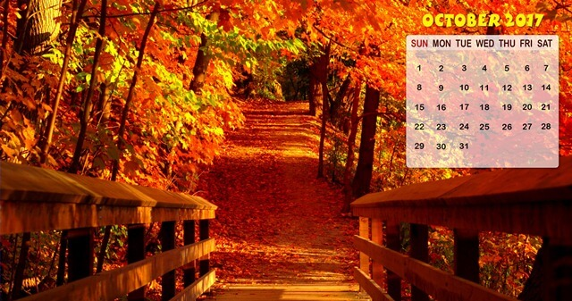 Free October 2017 Calendar Wallpaper