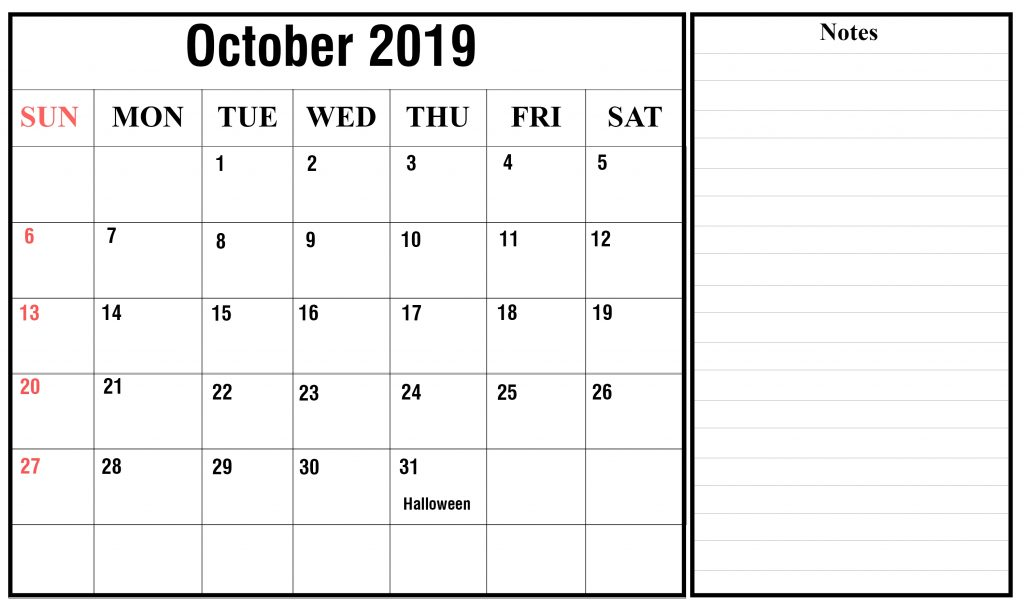 image regarding Free Printable October Calendars titled Oct 2019 Printable Calendar Blank Templates Absolutely free Down load
