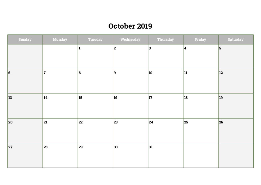 photograph relating to Free Printable Calendar Oct titled Oct 2019 Printable Calendar Blank Templates Absolutely free Obtain