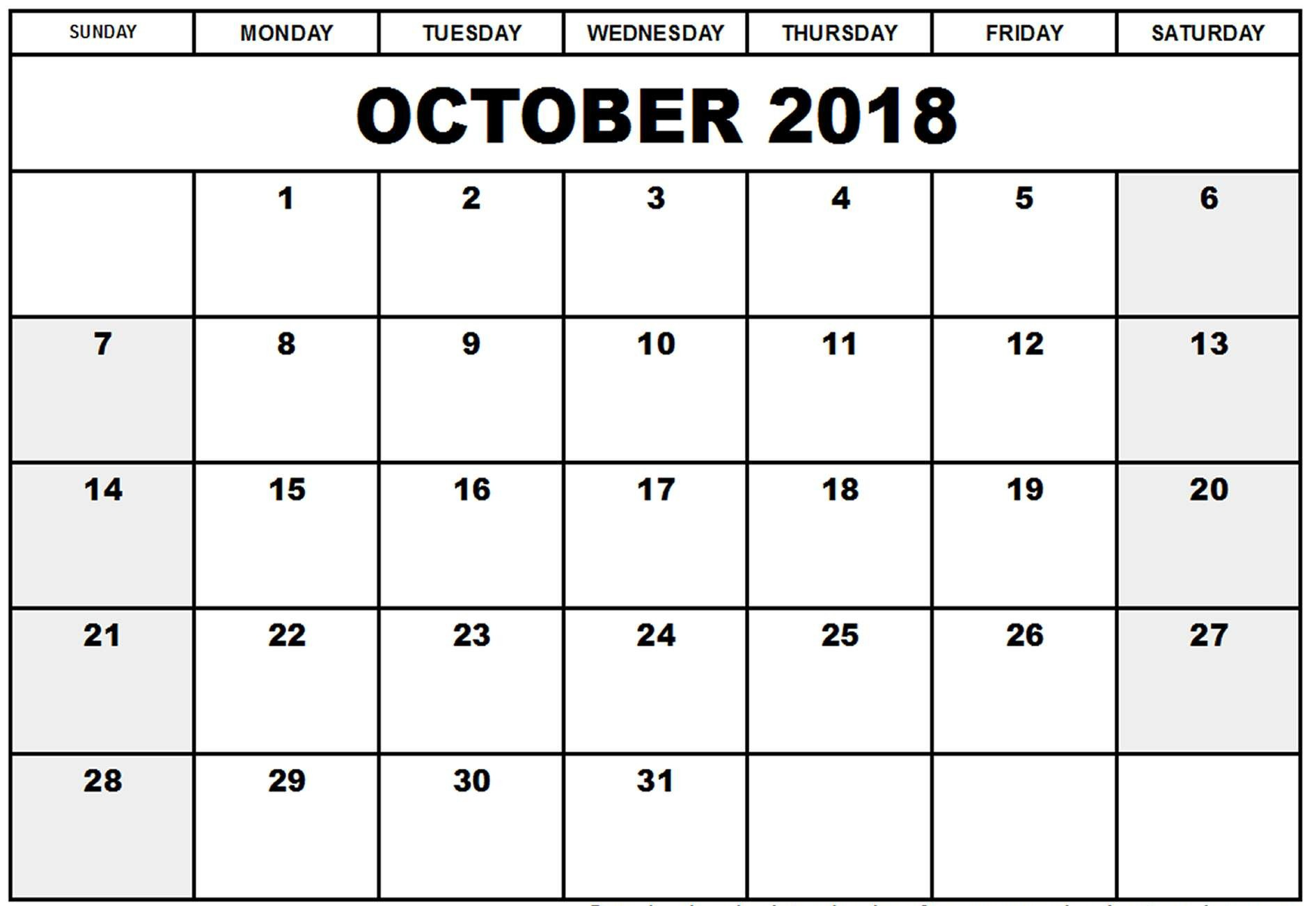 Free Printable October 2018 Calendar Pages
