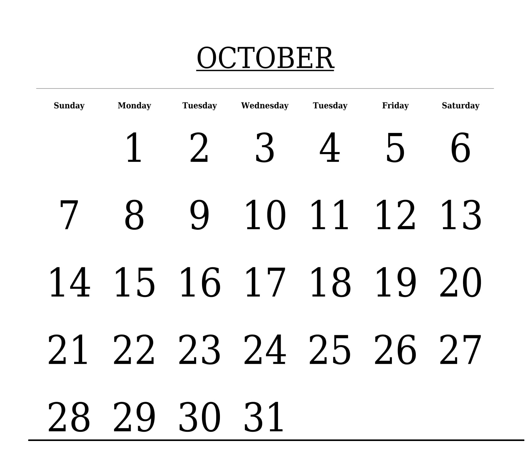 Free Printable Template October 2018 Calendar