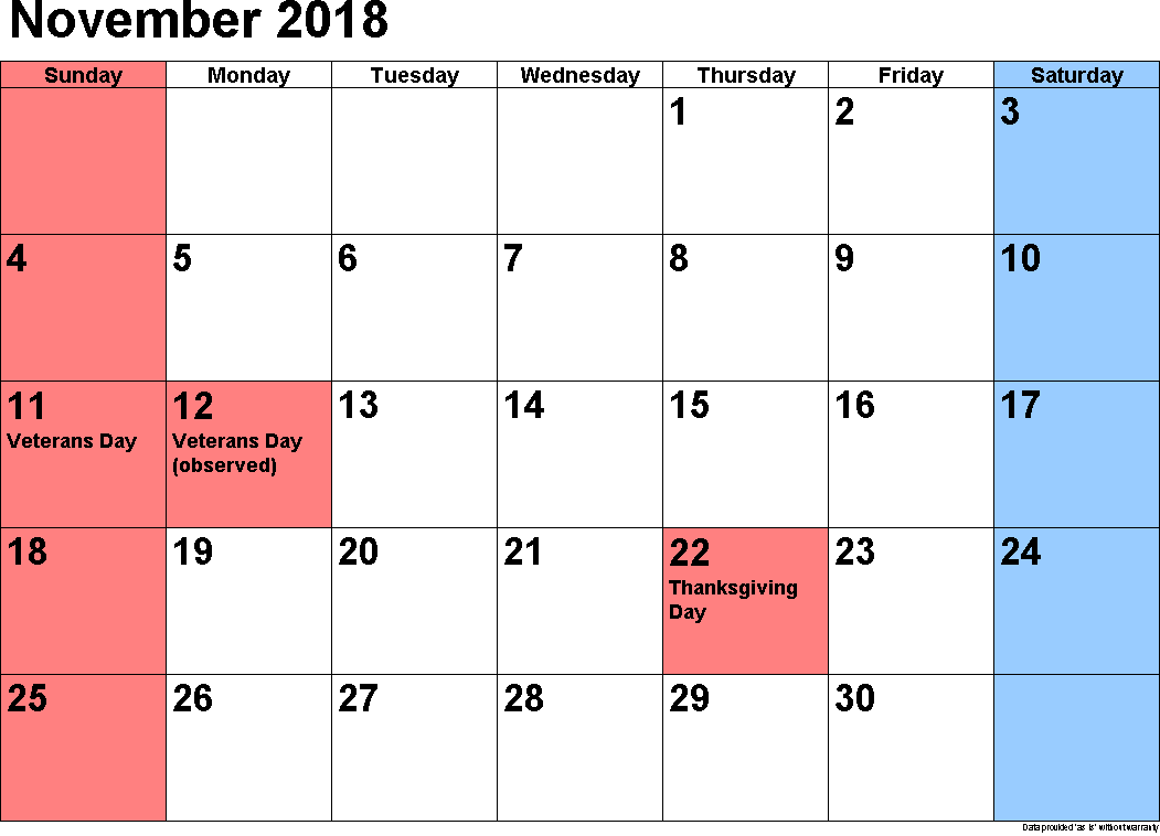 Holiday Calendar 2018 November