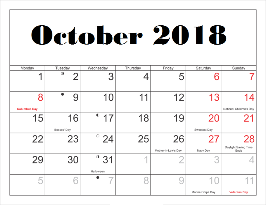 Holidays Calendar for October 2018