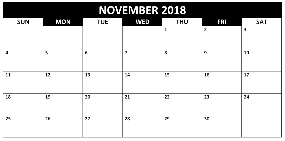 Free November 2018 Printable Calendar Template Pdf Word One Page