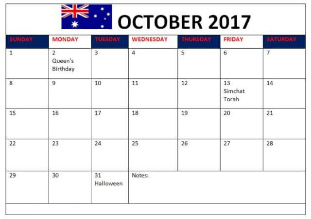 October 2017 Calendar Australia Holidays Bank and Public
