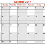 October 2017 Calendar PDF Word Page Excel Landscape Portrait Vertical – Oct 2017 Calendar with Notes