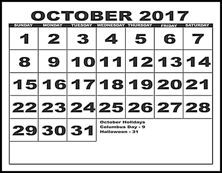 October 2017 Calendar Holidays UK