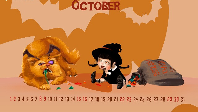 October 2017 Calendar Live Wallpaper