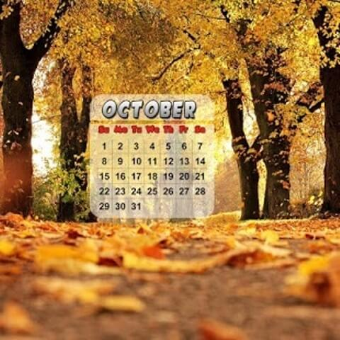 October 2017 Calendar Mobile Wallpaper