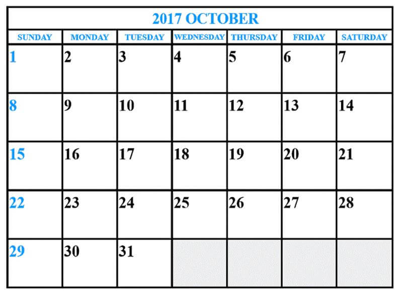 October 2017 Calendar Monthly