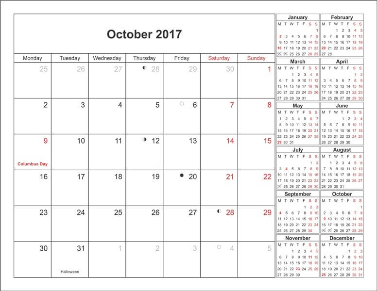 October 2017 Monthly Calendar Pdf