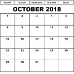 Free October 2018 Printable Calendar Download Online