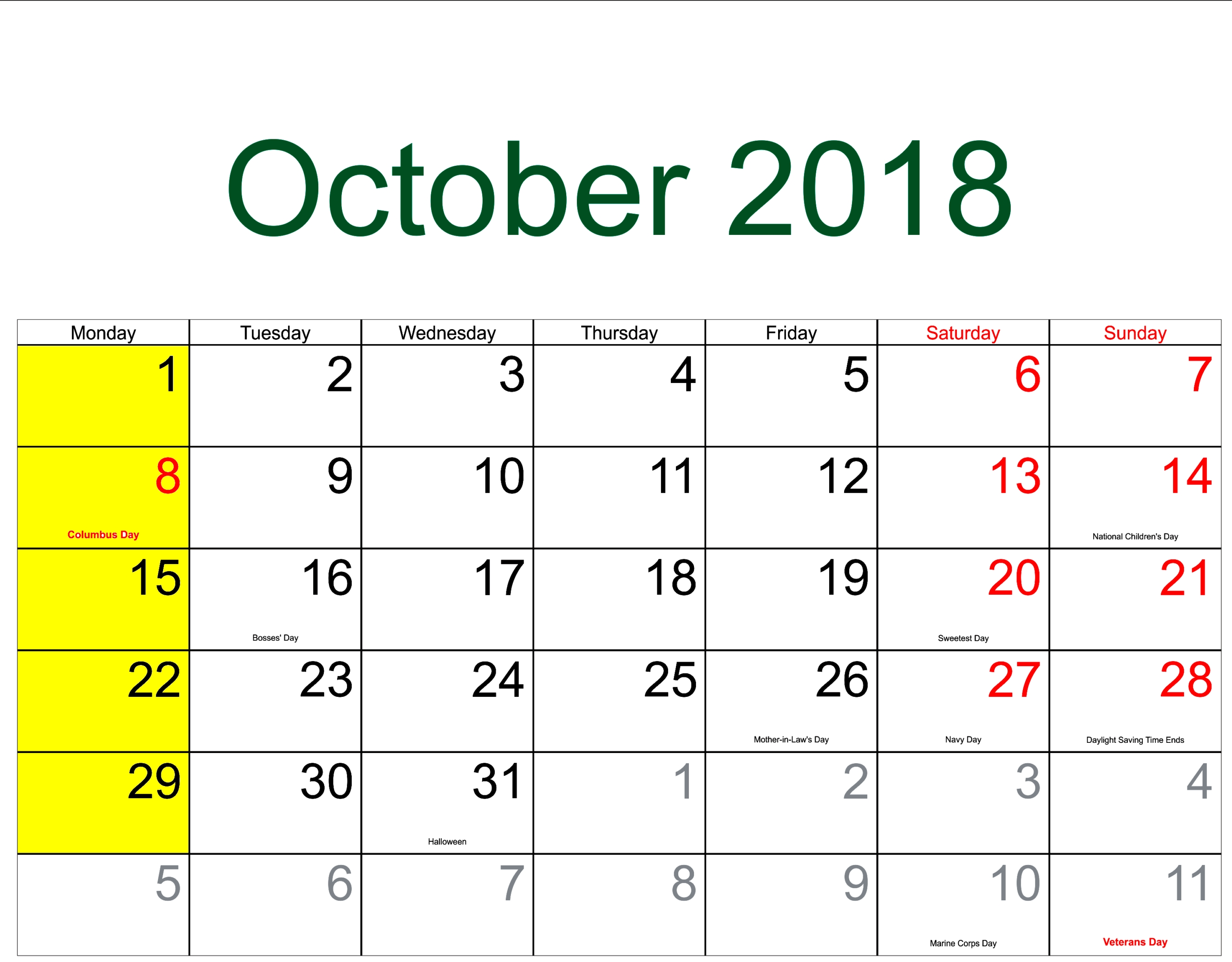 October 2018 Calendar Us Calendar Template Letter Format Printable