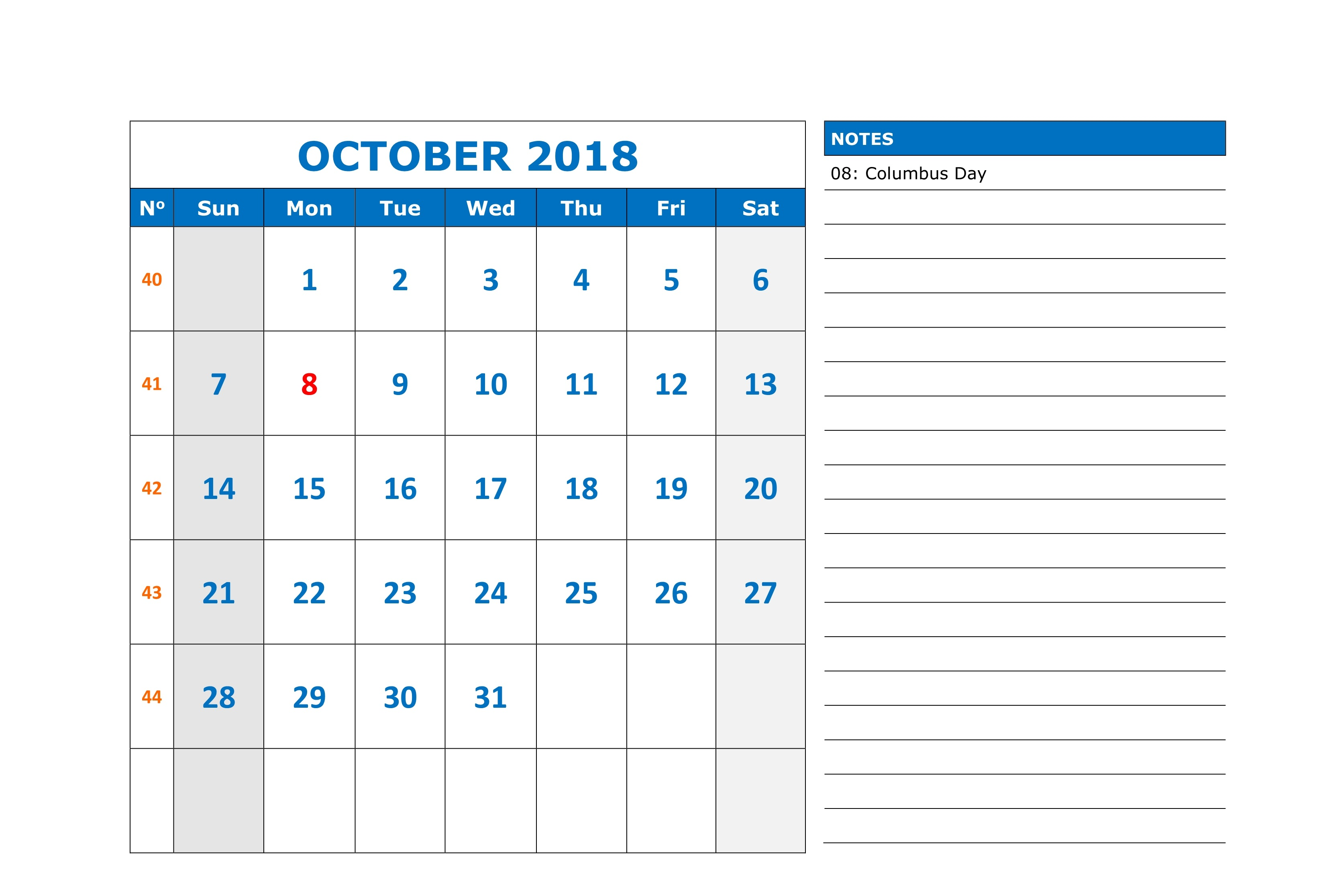 October 2018 Calendar Template With Holidays Notes
