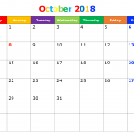October 2018 Printable Calendar Blank Templates Free Download
