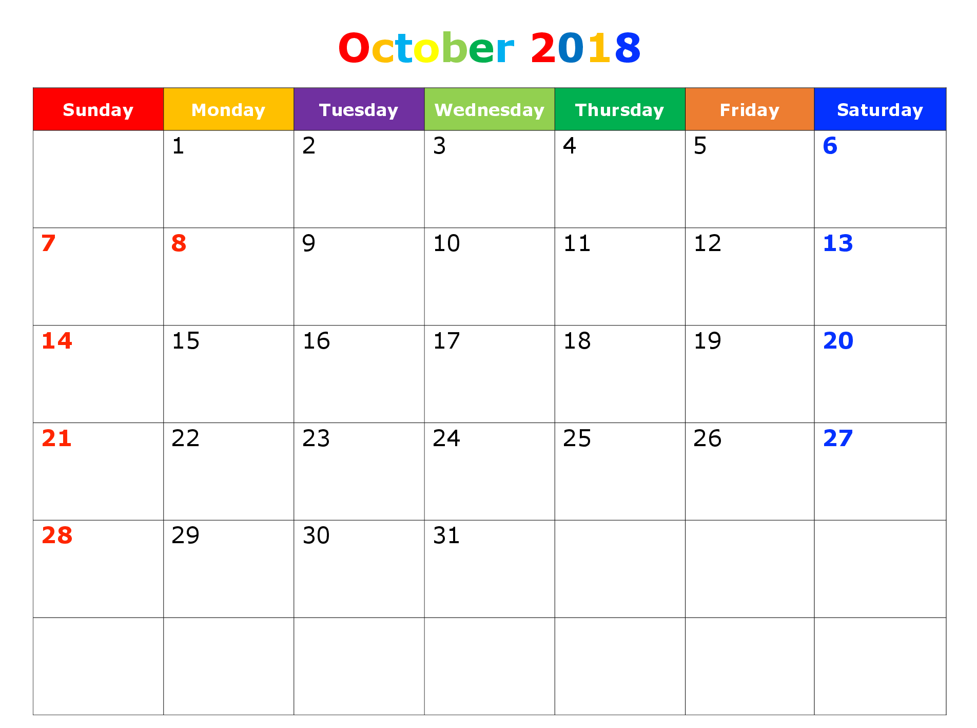 October 2018 Printable Calendar Decorative Template
