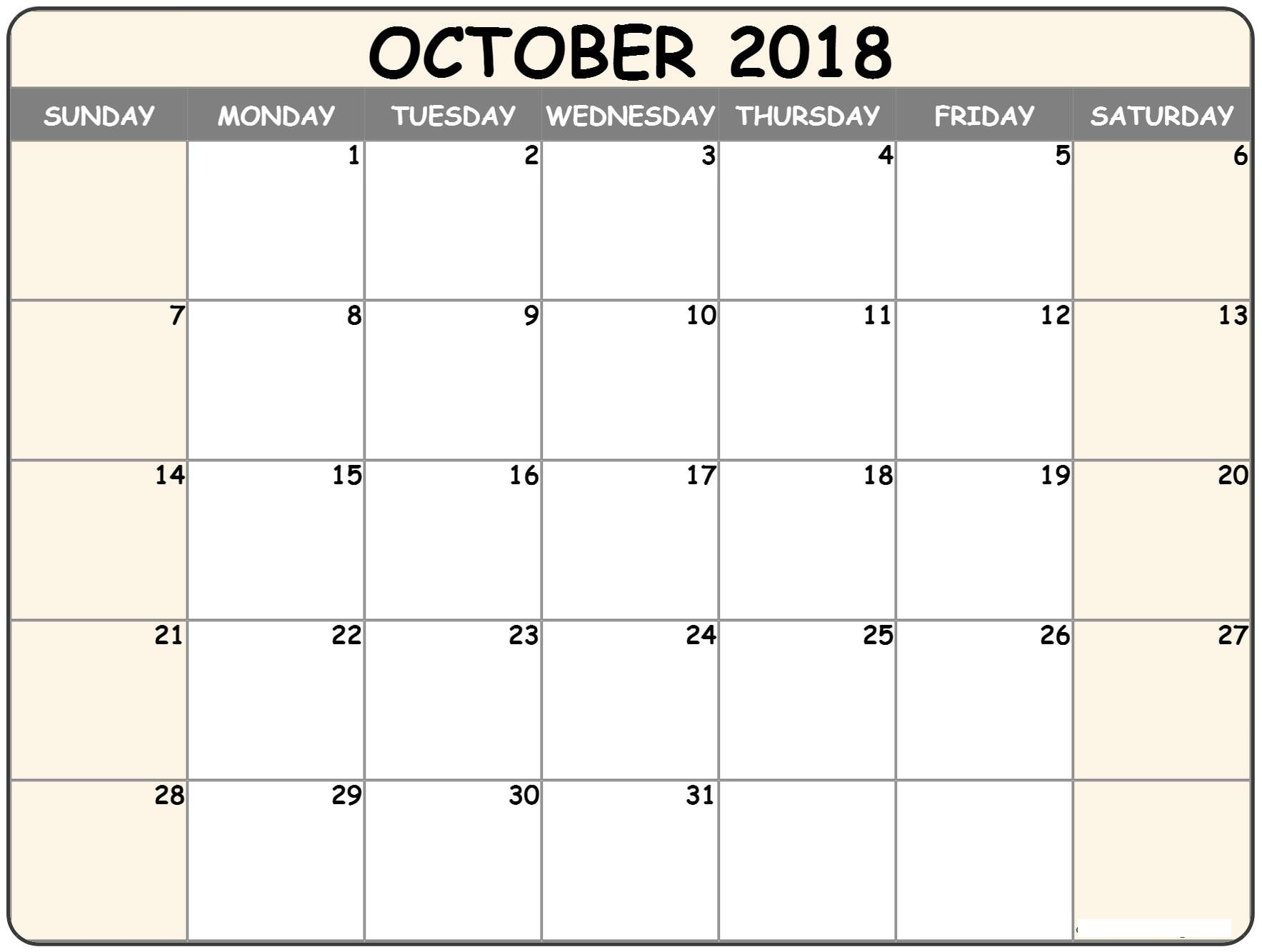 October 2018 Printable Calendar Excel
