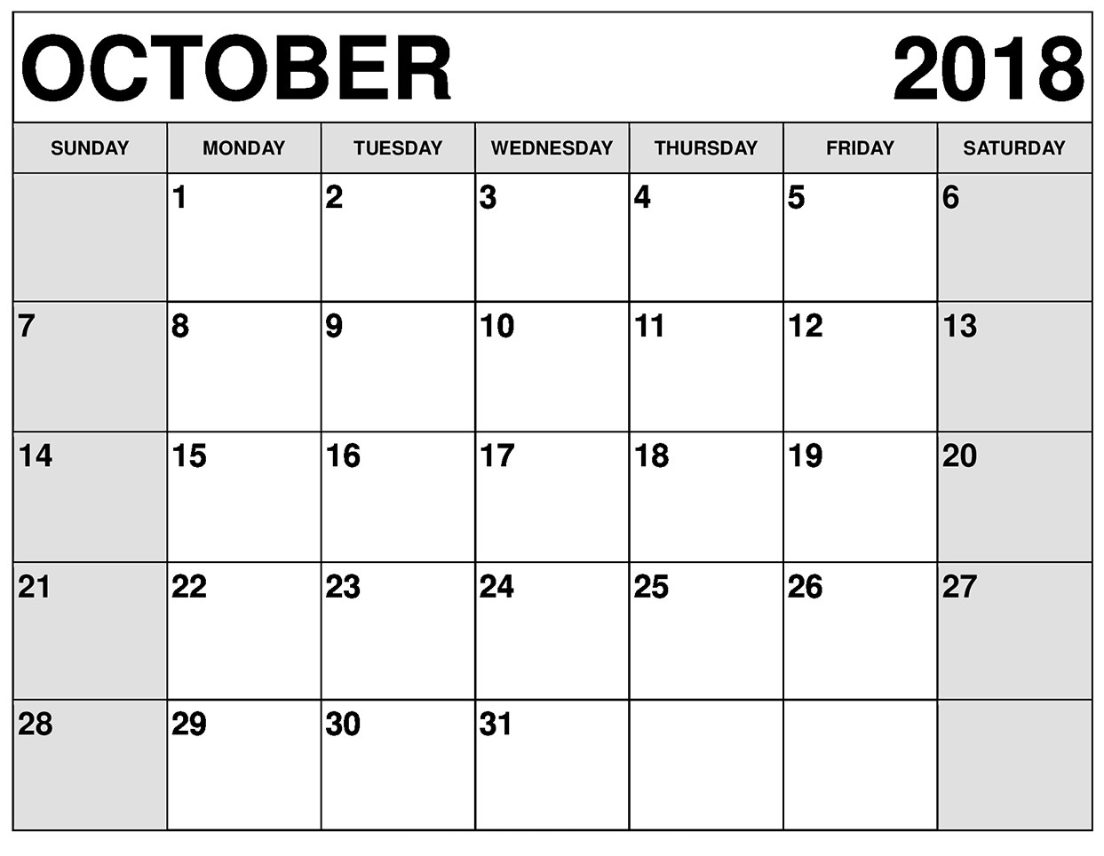 October 2018 Printable Calendar With Holidays