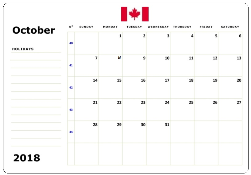 October 2018 Printable Calendar With Notes