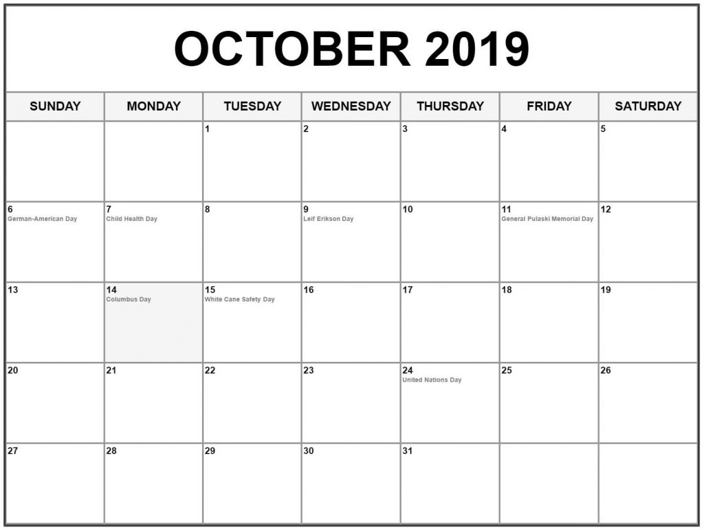 photograph regarding October Calendar Printable titled Oct 2019 Printable Calendar Blank Templates Absolutely free Obtain