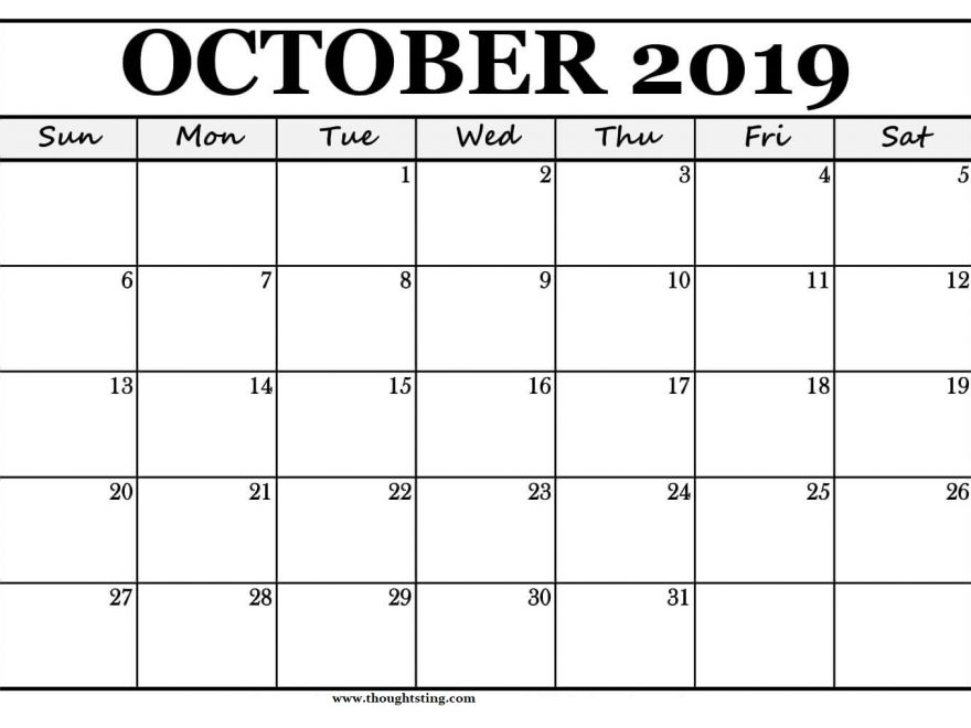 picture relating to Printable Oct. Calendar identified as Oct 2019 Printable Calendar Blank Templates Totally free Down load