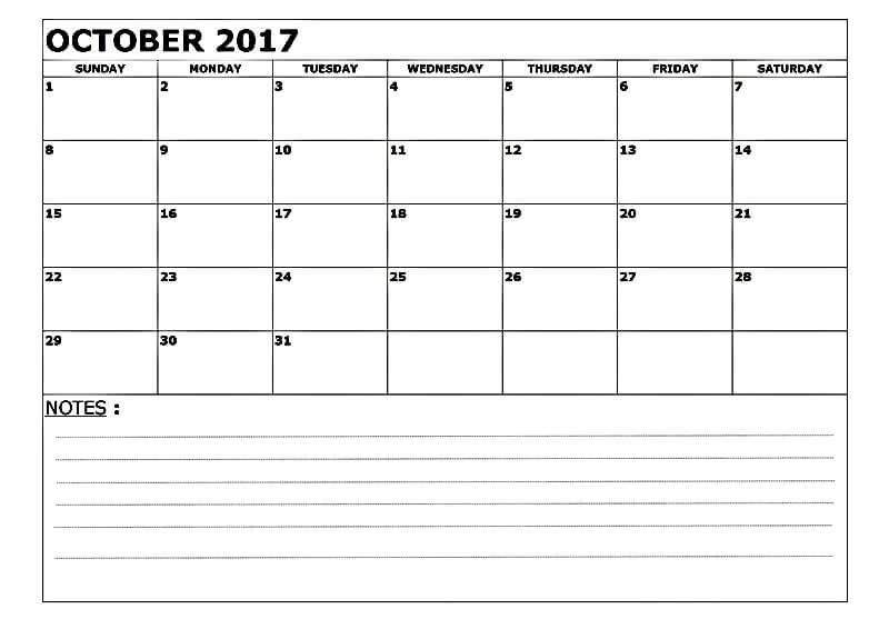 Free October Calendar 2017 Printable Templates Blank With Notes