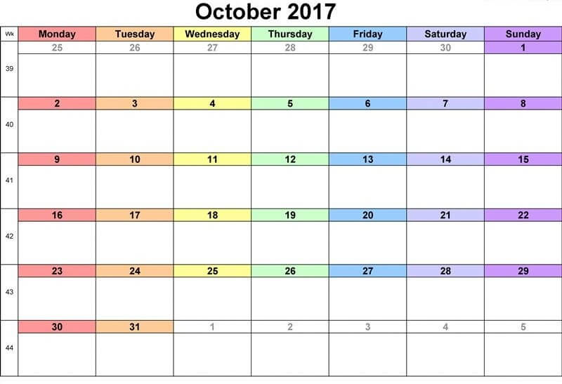 October printable calendar 2017 free download
