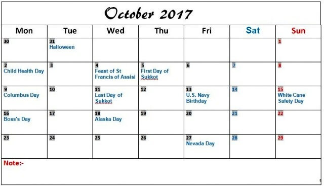 2017 October Calendar With Holidays In USA, UK, …