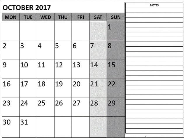 October Month 2017 Calendar With Notes
